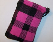"""Padded Pipe Pouch, Pink & Black Bag, Plaid Pipe Case, Glass Pipe Bag, Stoner Gift, Hipster Bag, Grunge Bag, 420 Gift, Pouch - 5"""" DRAWSTRING"""