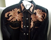 Vintage Tru-West Rockmount Ranch Wear Black Red Gold Embroidered Western Shirt  RESERVED for Maria