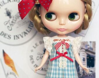 Cherry Blue Dress - for Blythe, MocaPinoRu, Mary&Ann - doll outfit - by kreamdoll