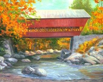 Conway Covered Bridge original 9x12 oil by Elaine Farmer