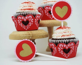 Valentine's Day Heart Cupcake Toppers In Your Choice of Color Qty 12 By Your Little Cupcake
