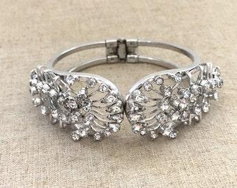 Vintage Clear Rhinestone Bracelet - Vintage Rhinestone Hinge Bracelet - Bridal Bracelet - Rhinestone Clamper Bracelet