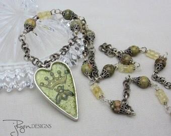 Handmade Artisan Necklace - Heart Necklace - Queen Bee - Green Enamel Necklace - Mixed Media Jewelry