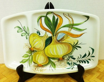 Mid Century Mancioli Divided Relish Dish for Lachman & Co.  Onions