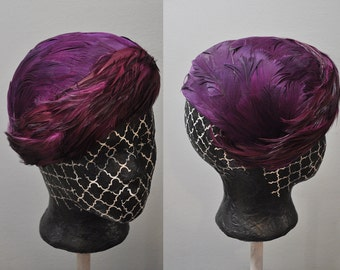 Jewel Feathered Hat | vintage 50s pink and purple feathered fascinator | party hat