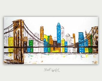 Original Colorful Brooklyn Bridge Skyline View, Oil Painting, Abstract Modern Skyline, Fine Art, Home Decor