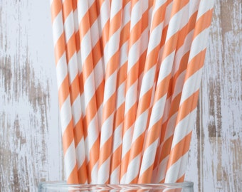 """100 Orange Extra Long vintage barber stripe drinking straws - with FREE Blank Flag Template - see also """"Personalized"""" Flags"""