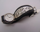 Montana Silversmiths silver plated adorned leather signed strap with quartz watch
