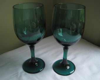 8 Libbey Teal Water Goblets, Set of 8, (2 sets of 8 goblets are available