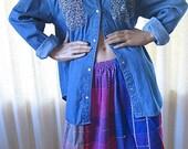 on sale 90s Denim Shirt Floral Snap Shirt Gitano 1990s Jean Shirt Oversized Slouchy Bohemian Clothing Vintage