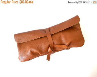 WINTER SALE Tan Brown Leather Clutch, Women's Gift, For Her, Leather Wallet Clutch, Soft Leather Long Clutch, Evening Clutch Bag, Leather Ha