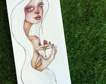 Tears of Broken Hope mixed media painting on paper by Jamie Dougherty