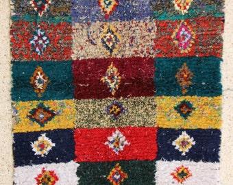 230x135 CM (7,6x4,5 feet) FREE SHIPPING worldwide  T26281 boucherouite , boucharouette,  moroccan rugs , berber rugs, morocco carpets