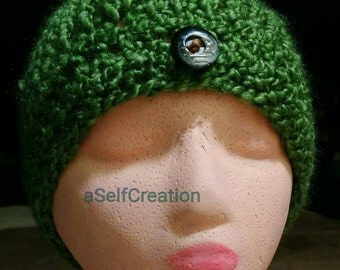 Green Knit Beanie Hat