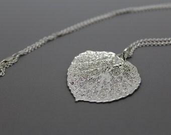 Sterling Silver Aspen Leaf Necklace