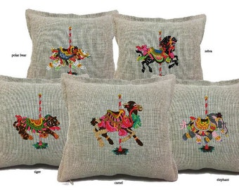 Carousel Animals - embroidered pillow covers