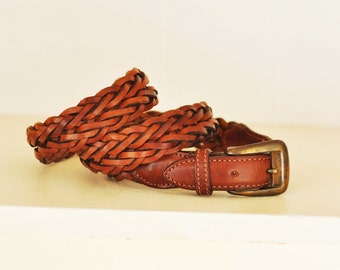 Vintage Adjustable Braided Brown Leather Belt Size ML 36 Belt Leather Vintage Brass Buckle Made in Argentina
