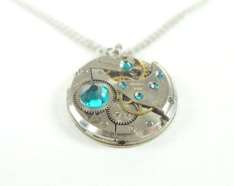 Steampunk Necklace Clockwork Jewelry With Teal Crystals