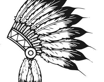 Indian Headdress Decal, Headdress Decal, Feather Headdress Sticker, Feather Decal, Vinyl Decal, Car Decal, Yeti Decal, Wall Decal, Decal
