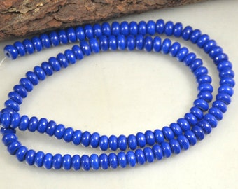 Charm Rondelle Blue Lapis Beads 10mmx6mm 8mmx5mm 6mmx3mm stone gemstone bead Full One strand 15.5""