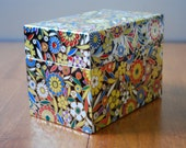 Vintage Metal Card File Box - Large Recipe Box - Chinoiserie - Foiled Floral Pattern -Organization