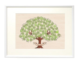 A3 Fingerprint Wedding Tree, Custom made, Thumbprint Tree Guest Book, Wedding Guest book, Personalized sign, Gift for Family, Personalized