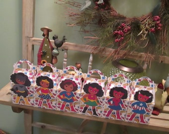 Super African American Girls Gable Favor Boxes Set of 12