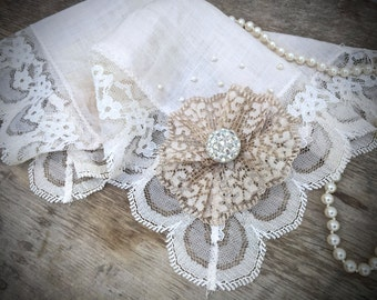 Vintage Upcycled Lace Handkerchief - Altered Vintage - Bridal Handkerchief - Weddings - Photo Props - Vintage Decor - Shabby Chic - Gifts