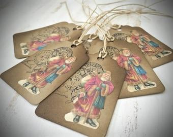 Vintage Inspired Christmas Mini Gift Tags - Set of 6 - Postal Old World Santa Gift Tags - Primitive Christmas - Paper Ephemera - Tags