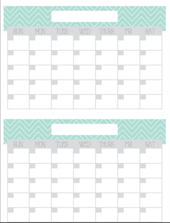 Printable Reusable Monthly Calendar : Reusable two month calendar digital poster printable