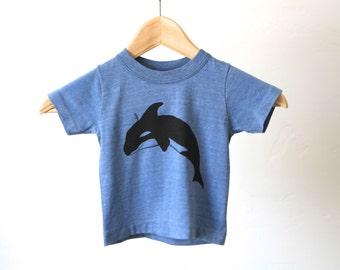 vintage BLUE 3T orca whale faded 80s vintage cotton poly t-shirt
