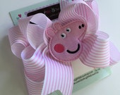 Pig Hairbow -- Preppy Pig -- Double bow with pink striped ribbon and sweet pig center