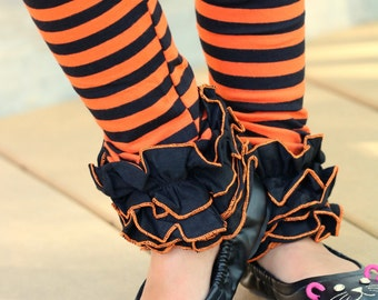 Halloween Ruffle Leggings - BOO! - knit ruffle leggings in orange and black - comfy knit ruffle pants size 6m to 10 with FREE SHIPPING