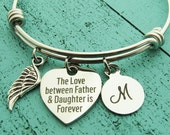 sympathy gift father, memorial gift dad, loss of father, daughter, dad memorial bracelet, in loving memory of dad, remembrance jewelry