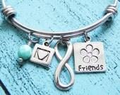 friend gift, best friend birthday gift, friendship bracelet, bff gift, friend jewelry, infinity heart, gift for best friend, sister gift