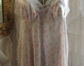 Vintage lingerie, gown and robe, sheer peach