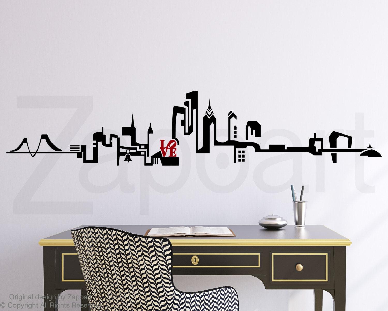 Philadelphia skyline wall decal for Stickers decorativos