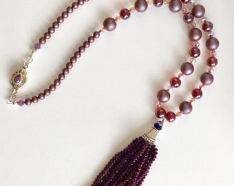 Tassel necklace with Swarovski Pearls and Czech Beads Gifts for Her
