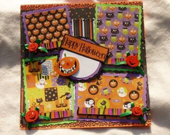 Halloween Ghosts Black Cats Frankenstein Boo Skeletons Skulls Bats Pumpkin Spiders Webs Trick or Treat 12x12 Premade Scrapbook Page by KARI