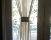 Natural- Off White Domestic- Cotton -Burlap trim 1 panel Custom Made Home Decor Rod Pocket Curtain Window Drapes Treatment for French Doors