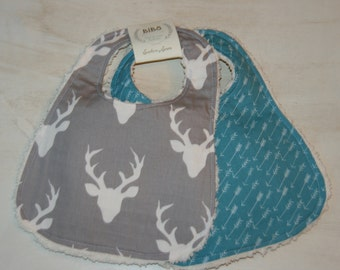 Baby Bibs Set of 2 Cotton Chenille Bibs Baby Shower Gift Grey Deer Teal Arrows