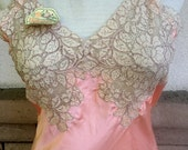 ON SALE 40's 50's Summer Peach Lace Slip by Maragold Slips Size 34 XS Unworn w/Tags