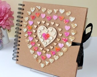 "Rustic Scrapbook Album - Wedding Guest Book - Photo Album - Hand Decorated - 8 x 8"" Pink & Gold Love Hearts - Scrap Book - Wedding Scrapbook"