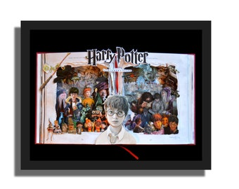 SALE - Harry Potter - Book Sculpture - 16x20x3 Shadowbox Framed - Free Shipping