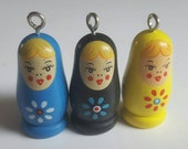 3pcs Wooden Russian Doll Painted Bead Charm Pendant - Blue Black & Yellow - 35mm x 16mm