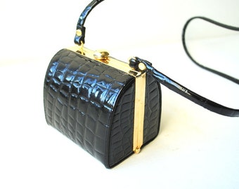 Luxurious vintage 80s black , shiny, textured patent leather, mini, sturdy,box style hand bag.