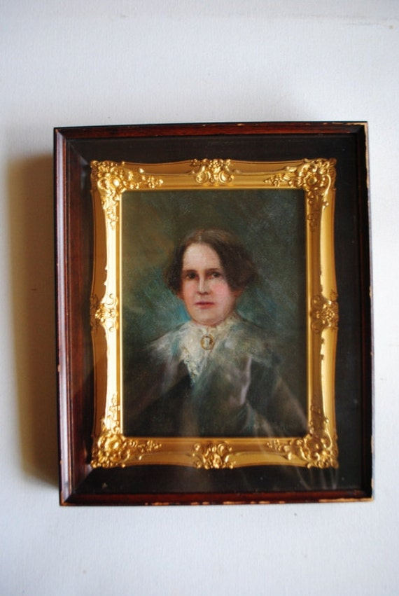 Antique   portrait  of  the Strong Lady.  Original  oil painting. Gold plated victorian style frame.