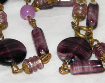 Vintage Art Deco Purple Bead Czech Glass Necklace Gilt Brass Amethyst Swirl Glass Bead