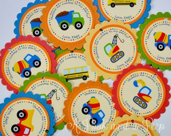 Consturction Truck Favor Tags or Stickers - Set of 12
