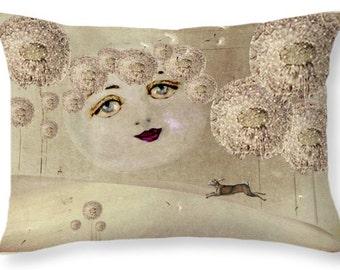 Pastoral Dreams A Moons Wish 20 X 14 INCH Surreal Art Decorative Pillow FANTASY  Pillow Dandelion Moon Home Decor Pillow Annabelle GhosTales